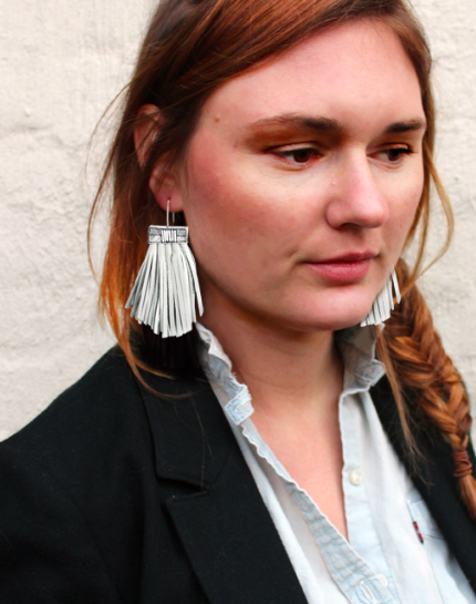 Tassel Cage Earrings - White