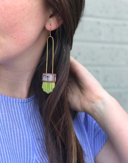 Regalo Long Terra Cotta Earrings - Avocado