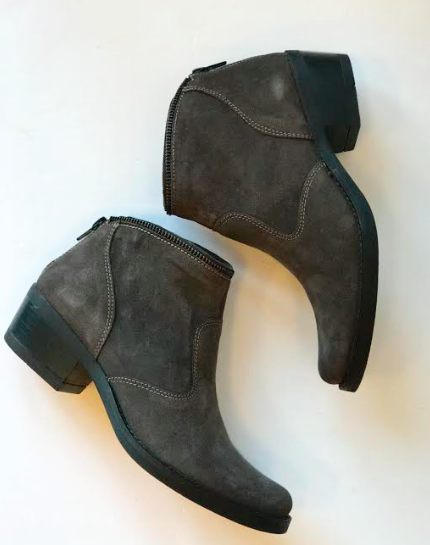 Grey Asphalt Suede Ankle Boot
