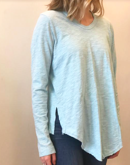 Slitted Shirttail Tunic Top