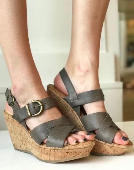 Emmy Cork Platform Wedge- Grey