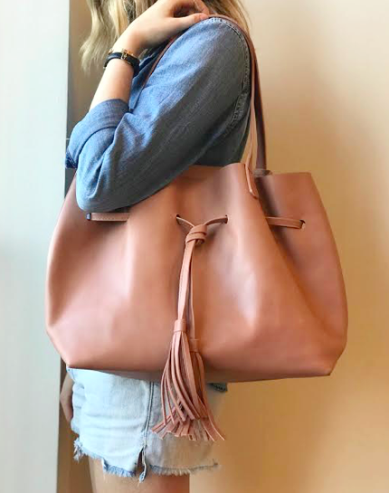 Tassel Shopper- Dusty Rose
