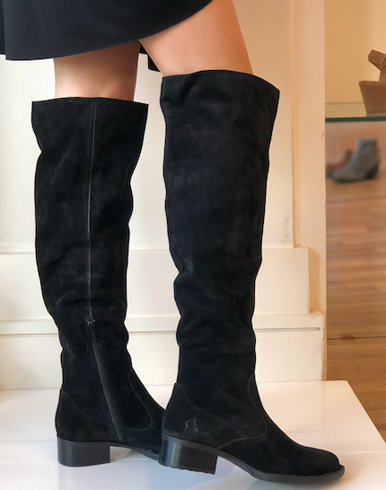 Cricket Knee High Boot - Black Suede