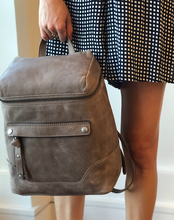 Melissa Zip Backpack - Grey Leather