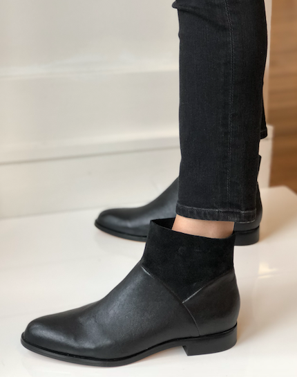 Mosina Bootie - Black Leather/Suede