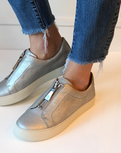 Lena Low Zip Sneaker - Silver Leather