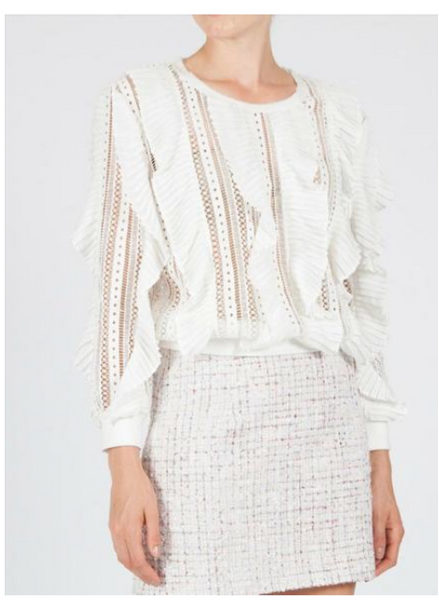 Diner Lace Sweater - White