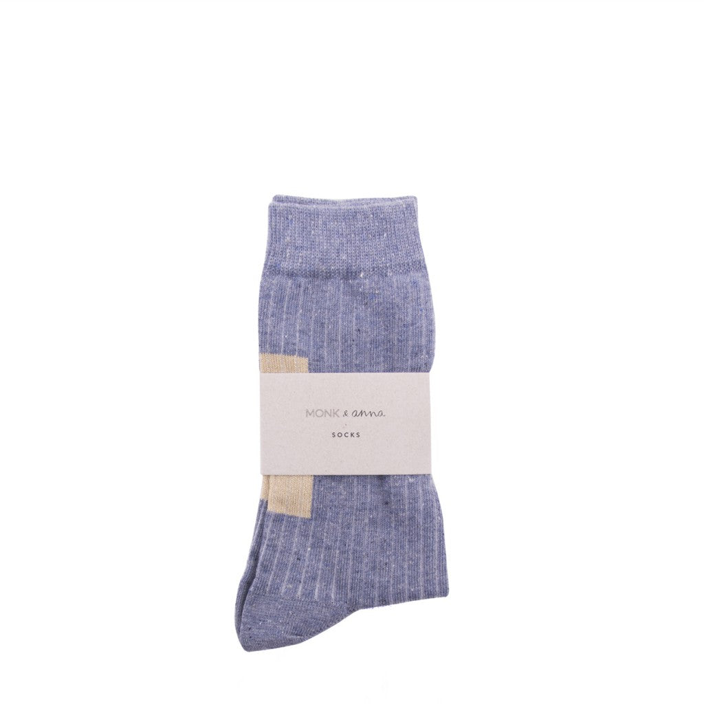 Monk + Anna Socks - Heather Blue