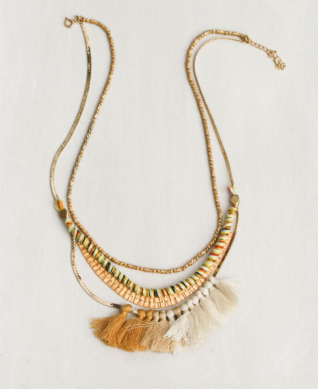 Gilded Tassel Fan Necklace