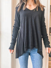 Long Sleeve Baby Peplum Tee - Black