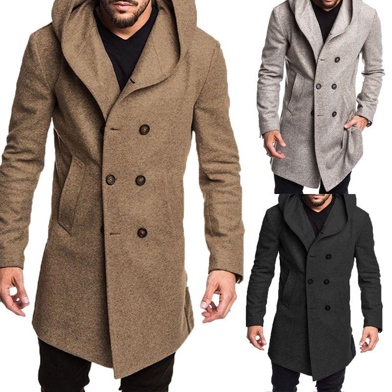 Men's Autumn & Winter Pure Color Jacket Cotton Coat