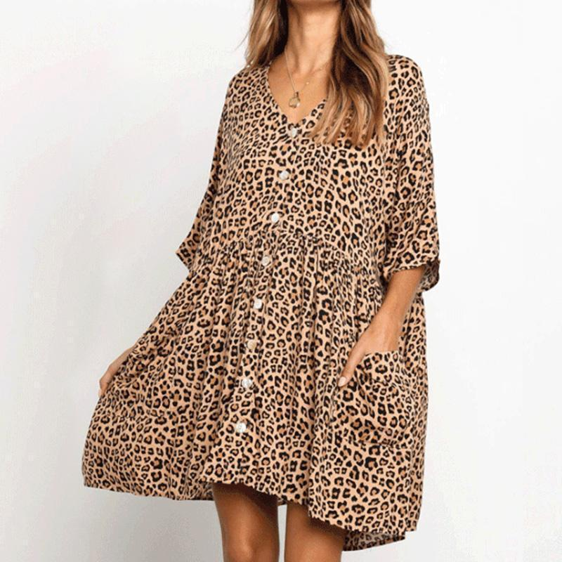 Cadevot™ V-Neck Leopard Printed Dress