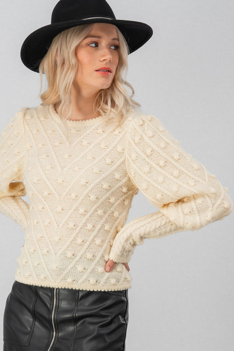 POM POM PUFF SLEEVE TOP