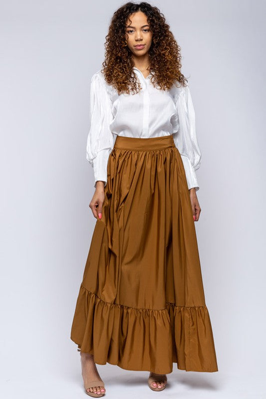 Maxi Gold Pocketed Skirt
