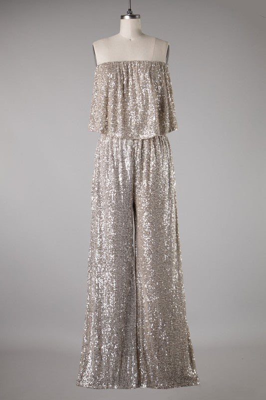 Strapless Sequin Jumpsuit
