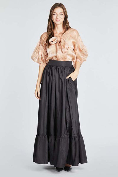 Maxi Black Pocketed Skirt