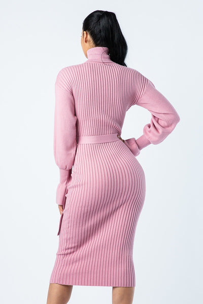 TURTLE NECK RIBBED MIDI DRESS
