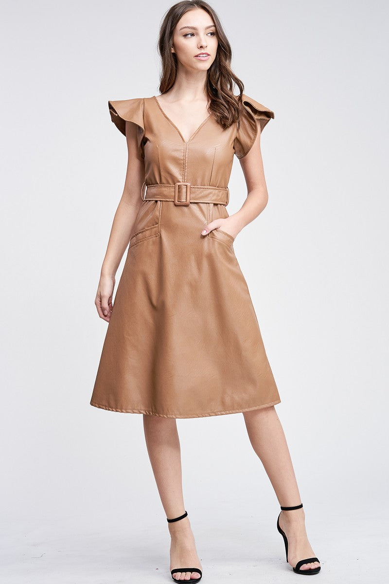 Camel Faux Leather Dress