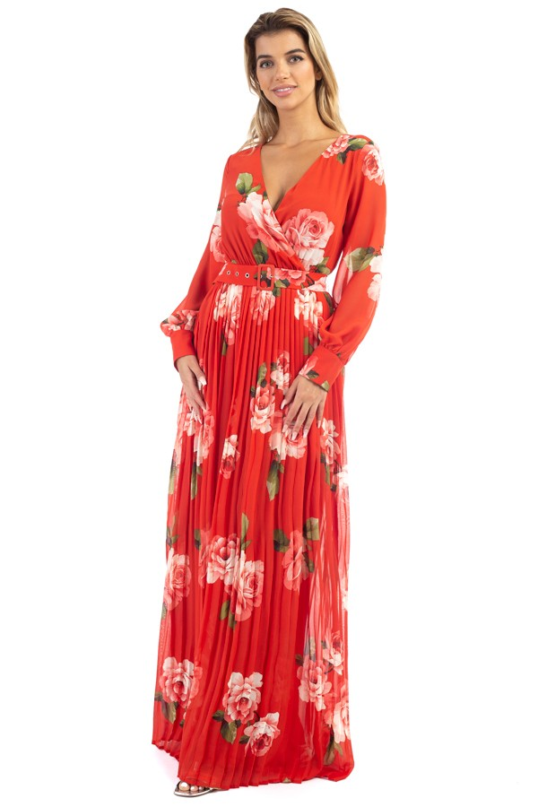 Long Sleeve Maxi Pleated Dress