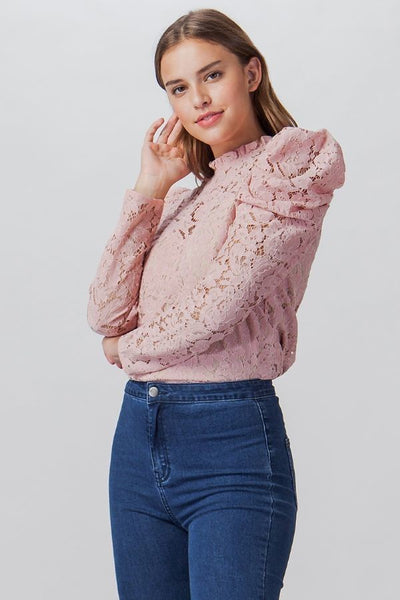 Lace Top Puff Sleeves