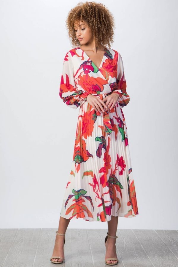 Large Floral Pleated Colorful Dress