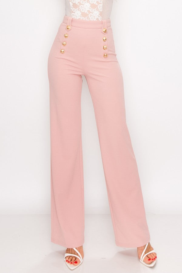 High Waist Gold Button Pants