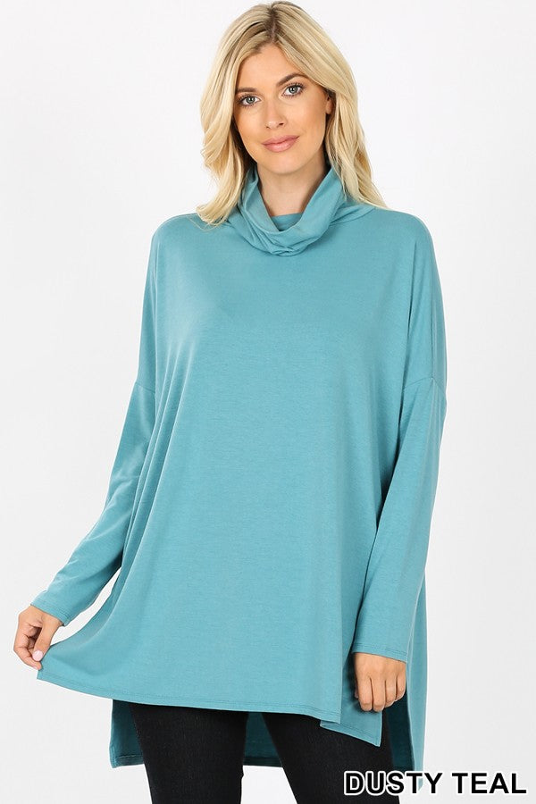 Cowl Neck High Low Top