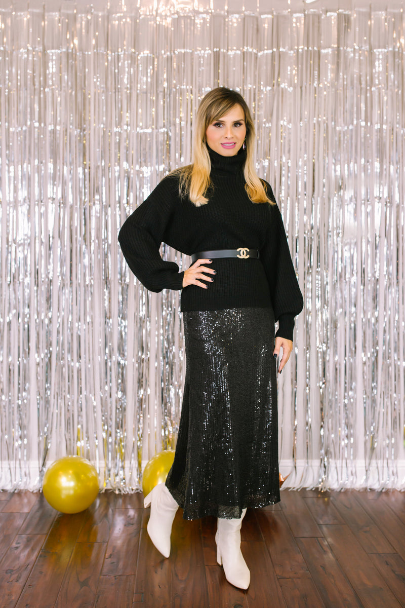 Sequin Midi Skirt