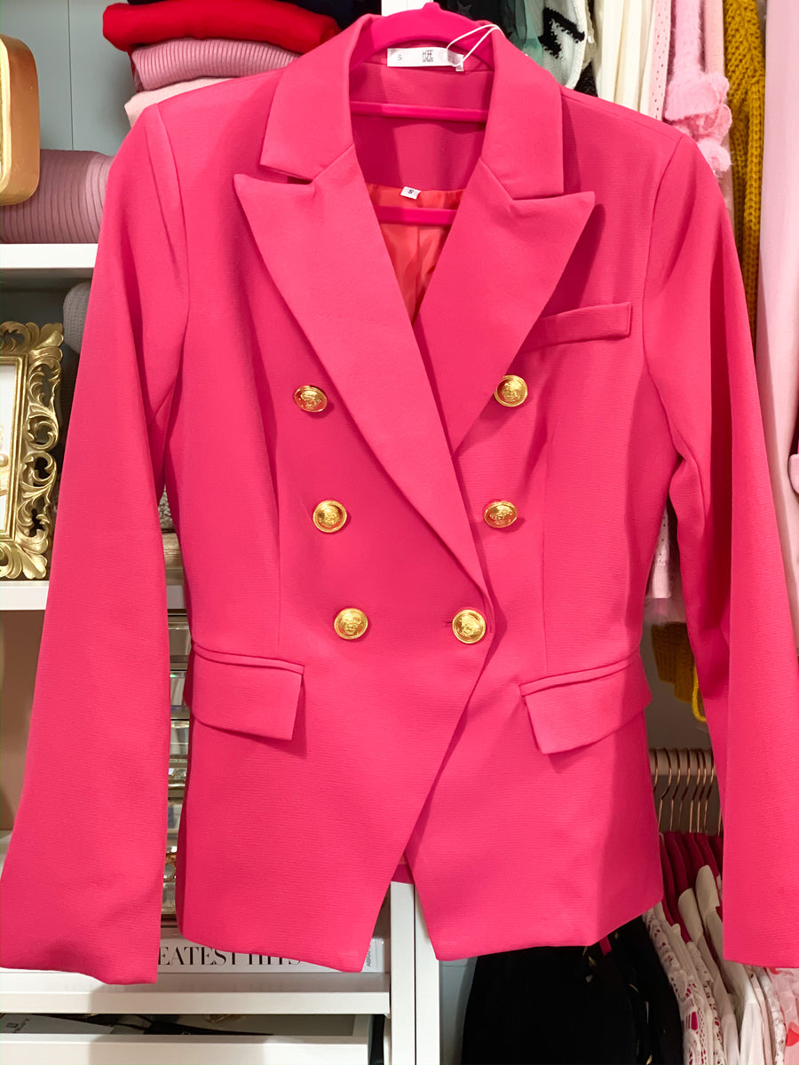 Pink Gold Button Blazer