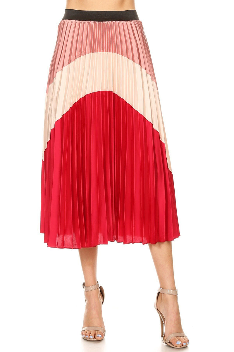 Color Block Midi Skirt