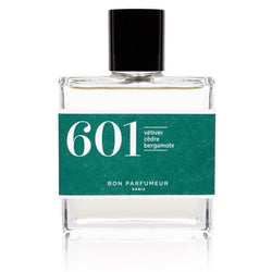 Bon Parfumeur brand eau de parfum 601 in clear glass bottle with green label and lid.