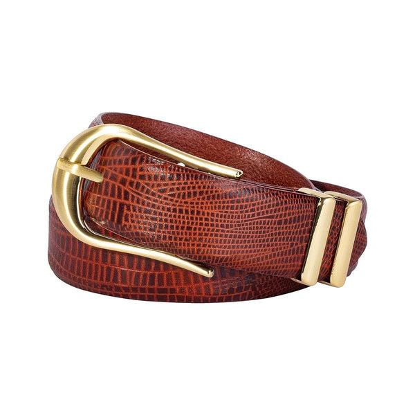 Image shows Sancia Inga belt in Antique Tan Lizard rolled up against white background.