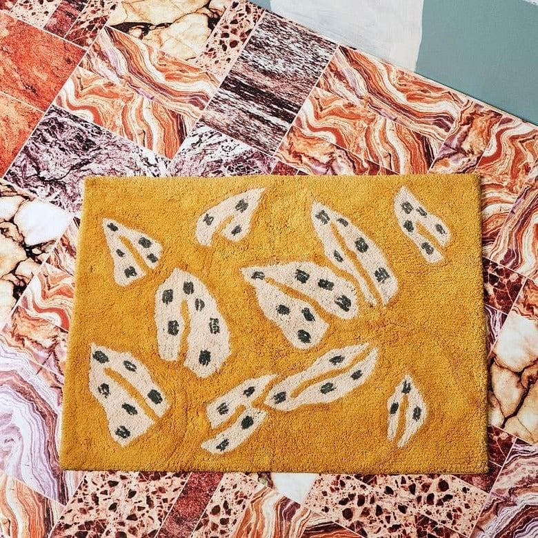 Bonnie and Neil Bath Mat - Spotted Begonia Mustard
