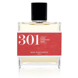 Bon Parfumeur brand eau de parfum 301 in clear glass bottle with red label and lid.