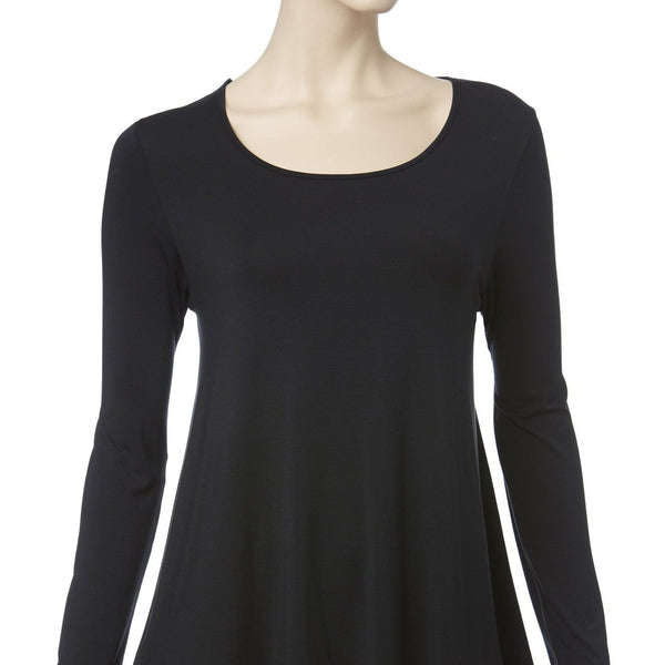 Mannequin wears Tani Swing Long Sleeve Top in Black. Standing against white background.