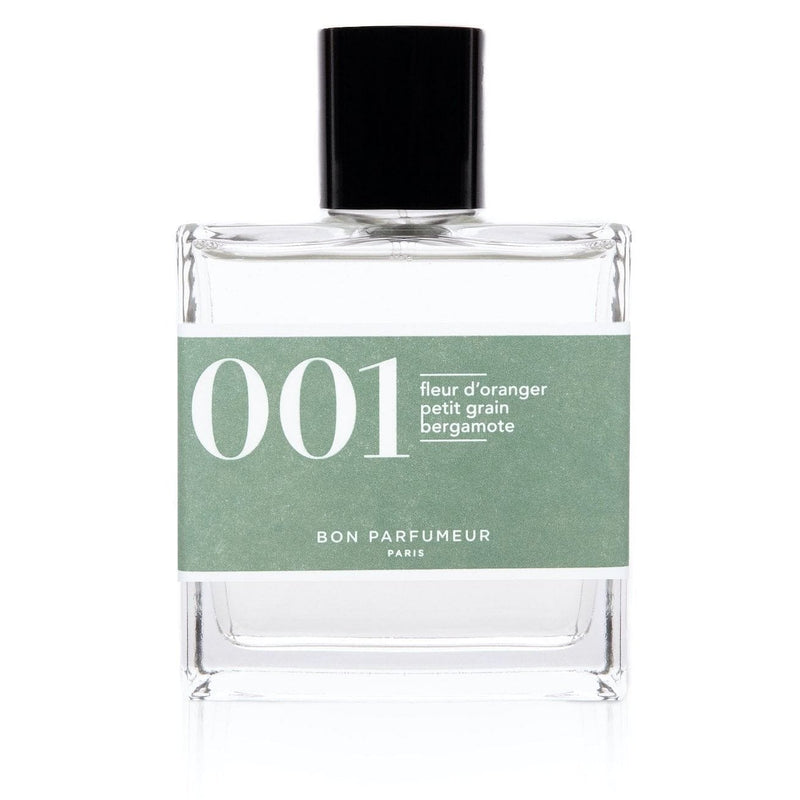 Bon Parfumeur brand eau de parfum 001 in clear glass bottle with mint label and lid.