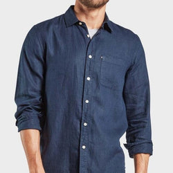 Image shows Academy Brand Hampton Long Sleeve Shirt in Navy.