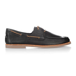 Urge Shoes Billi black milled.  A shoe featuring black leather with tan laces and slight heel. Men's boat style shoe, side view.