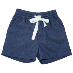 Somebody's Story brand kids shorts in navy with elasticised waist and contrast tie in white.