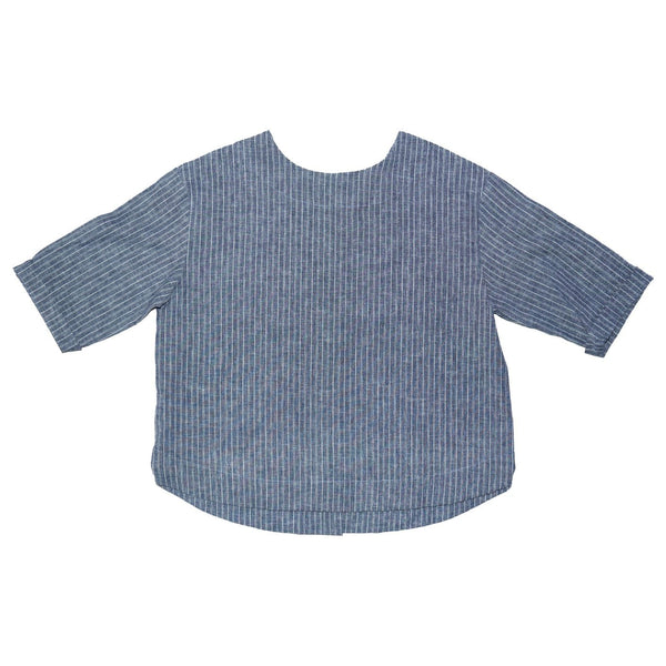 Somebody's Story brand Leonie top in indigo stripe. Rounded neckline, 3/4 length sleeves and rounded hem. Front view.
