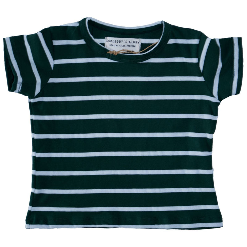Somebody's Story brand kids crew neck t-shirt in forest and salt stripe.