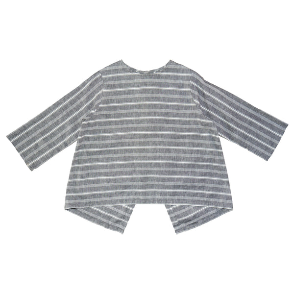 Somebody's Story brand Meg Top in charcoal colour fabric with a white stripe.  3/4 length sleeves and a high, round neckline.