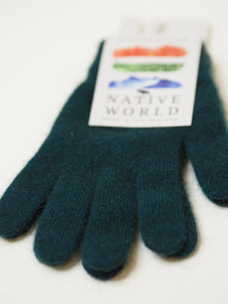 Native World Possum Merino Plain Gloves - Jade