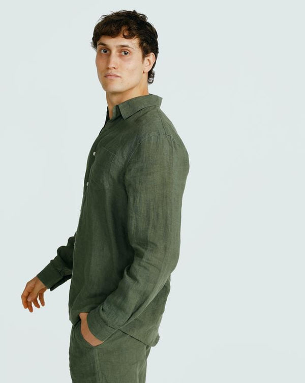 ortc clothing co.  linen shirt- green