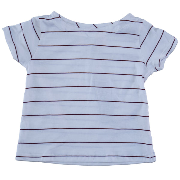 Somebody's Story brand kids boat neck t-shirt in wild berry and salt stripe.