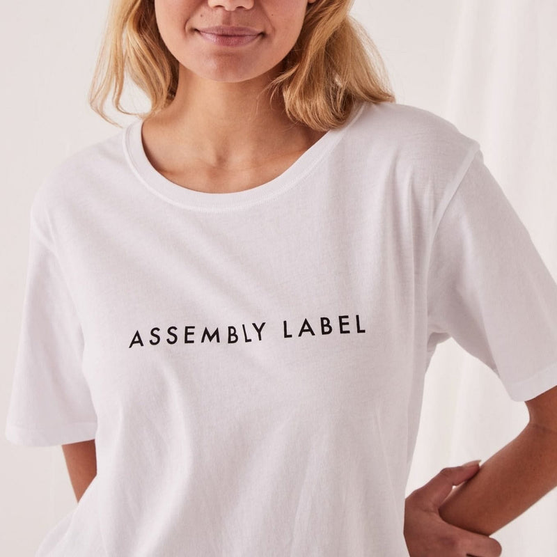 Assembly Label Logo Cotton Crew Tee - White
