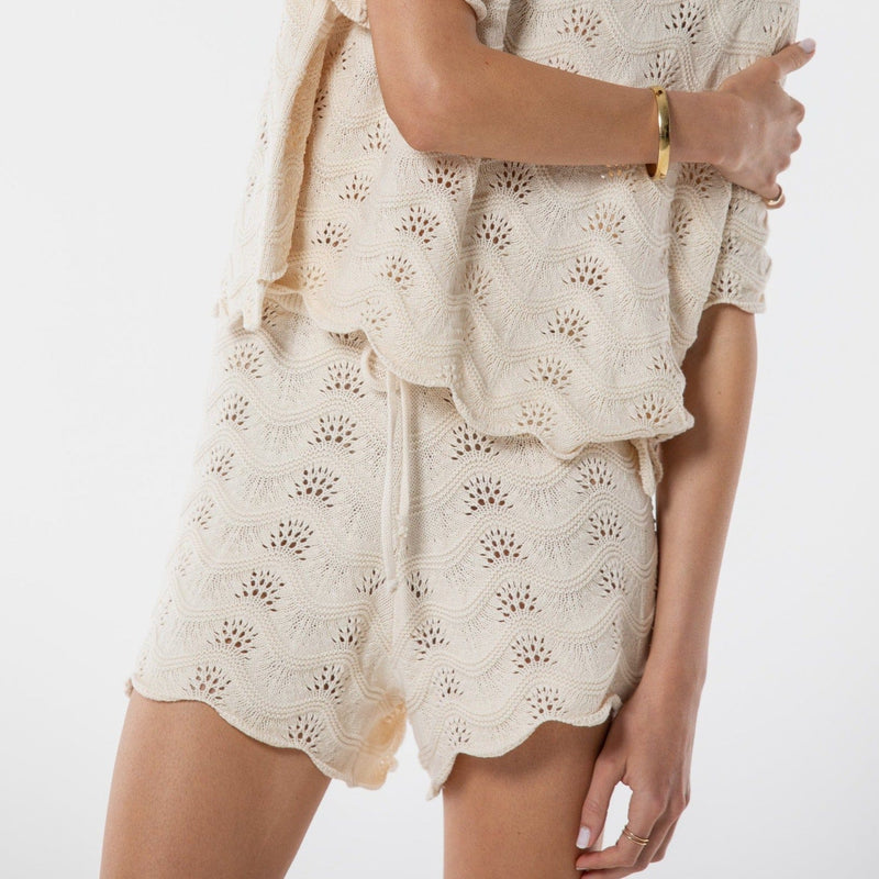 Saint Helena Scarborough Knitted Shorts - Eggshell