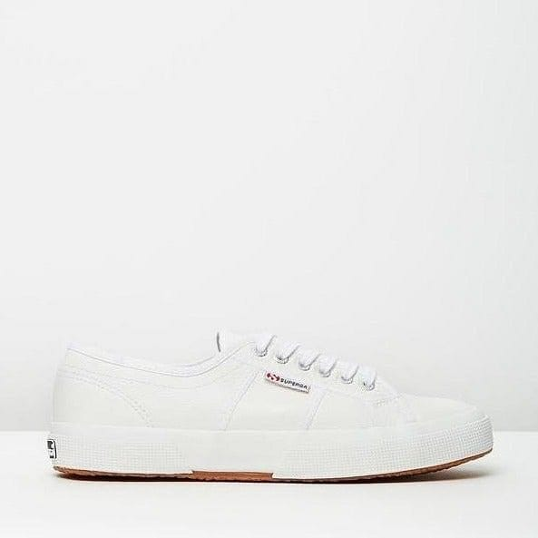 superga white leather casual shoe with rubber sole side view