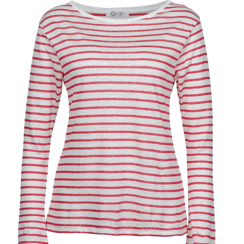 Jac Cadeaux Linen Long Sleeve Top - Red and White Stripe