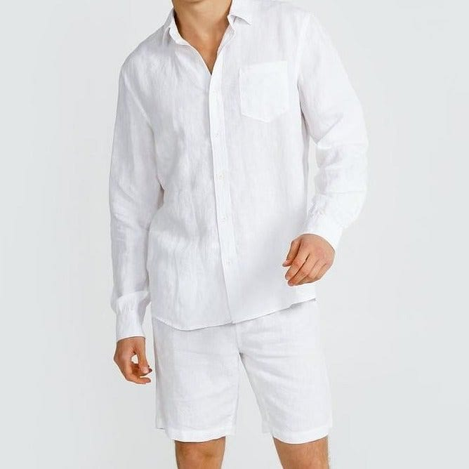 mens white linen shirt ortc clothing